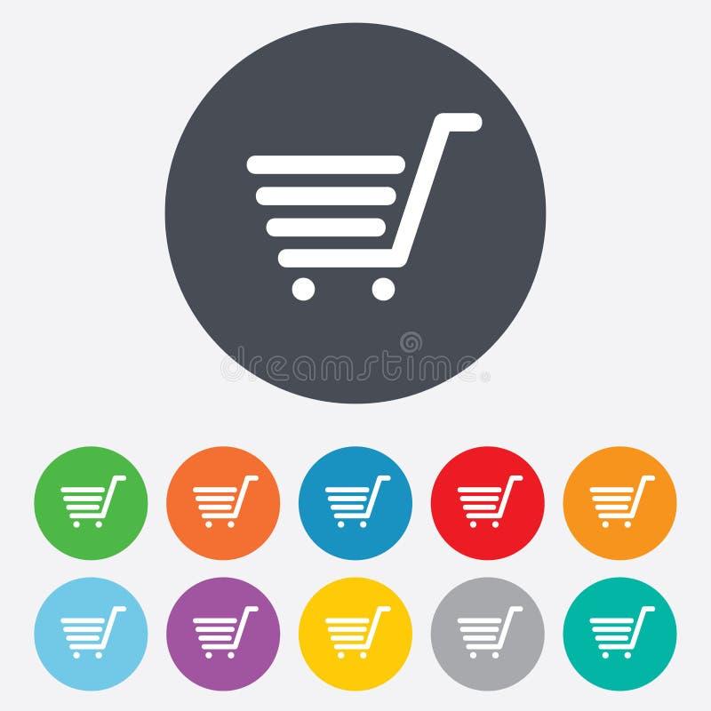 Ícone do sinal do carrinho de compras. Botão de compra em linha. ilustração stock