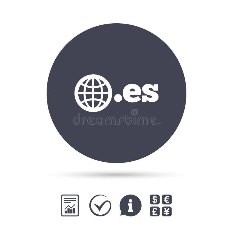 Ícone do sinal do ES do domínio Domínio nível mais alto do Internet ilustração stock