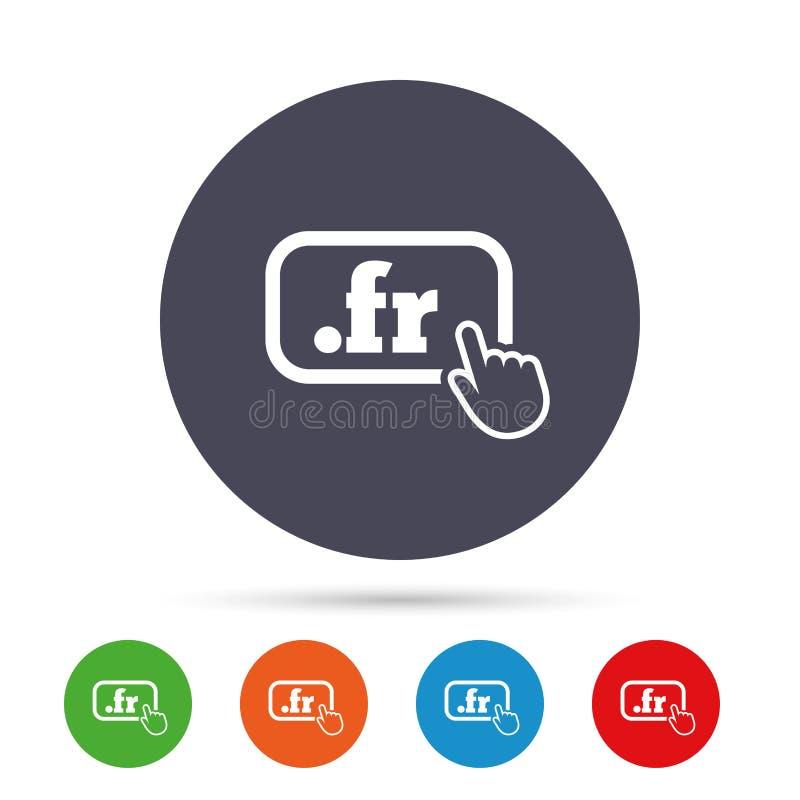 Ícone do sinal do franco do domínio Domínio nível mais alto do Internet ilustração do vetor