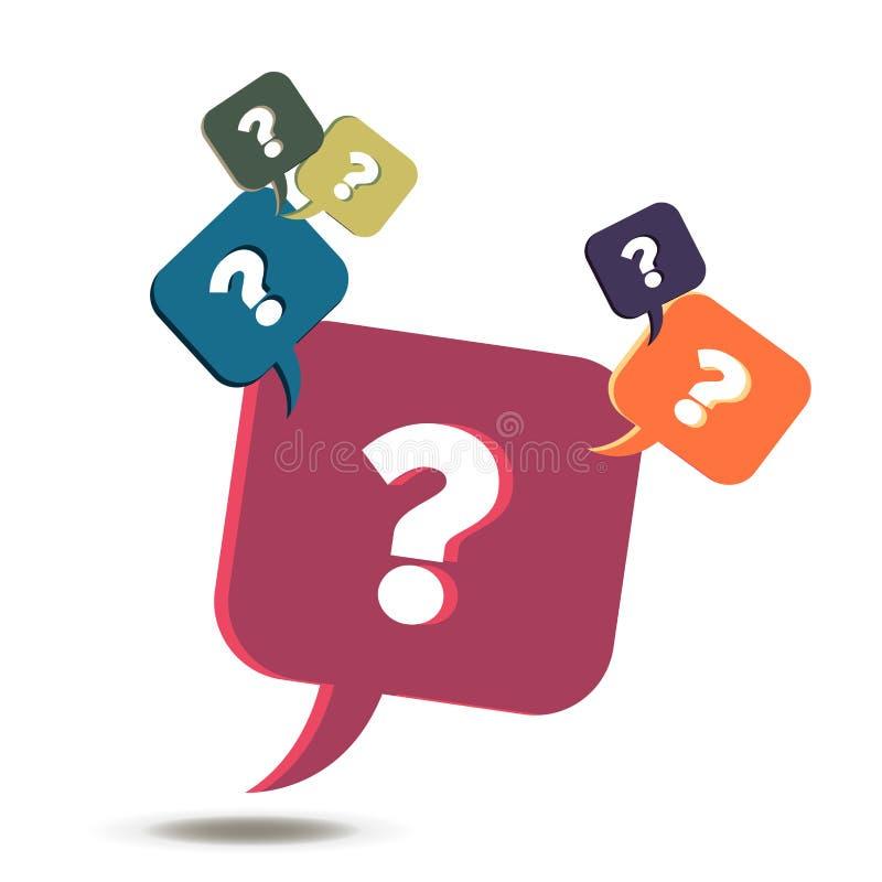 Ícone do sinal do ponto de interrogação do vetor Símbolo da ajuda Bolha do FAQ Botões coloridos redondos isolados no fundo branco ilustração royalty free