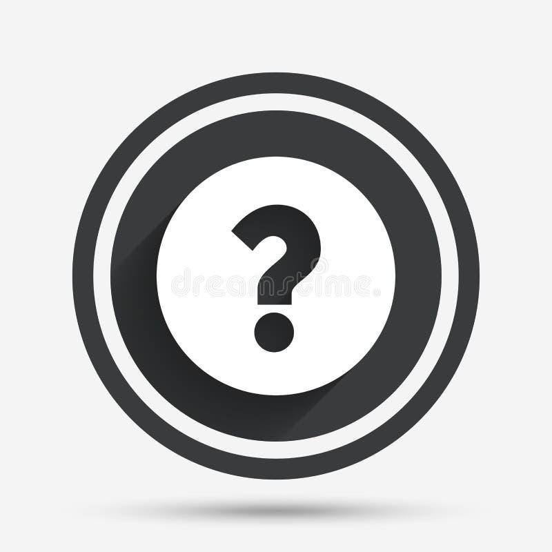 Ícone do sinal do ponto de interrogação Símbolo da ajuda ilustração stock