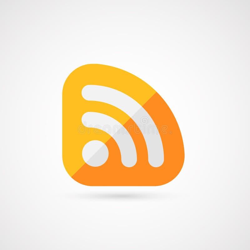 Ícone do sinal do RSS Símbolo da alimentação do RSS ilustração stock
