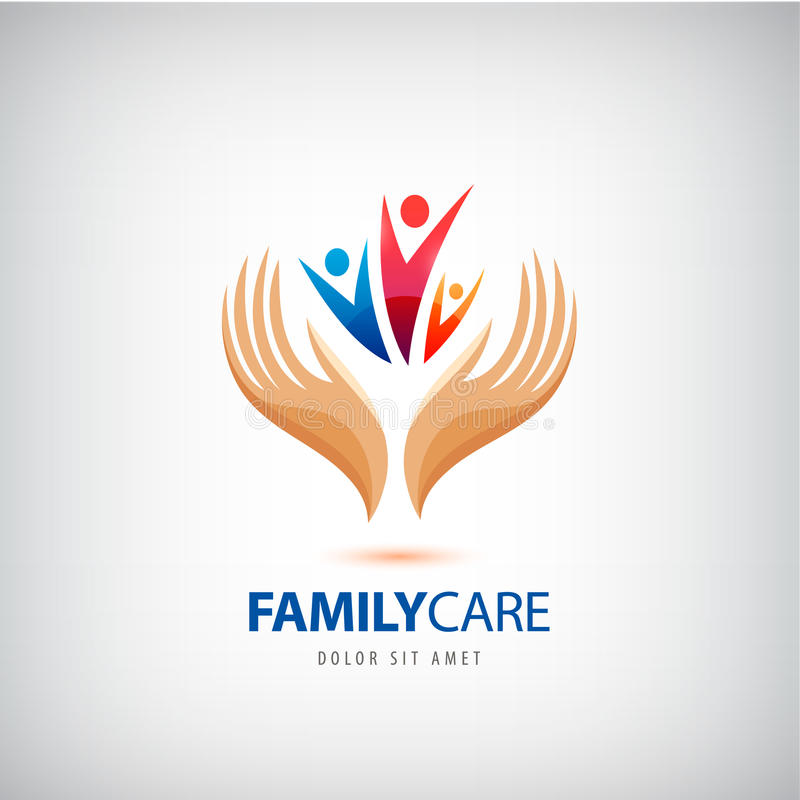 Ícone do sinal do seguro de vida familiar do vetor As mãos protegem, guardam o símbolo humano do grupo ilustração do vetor