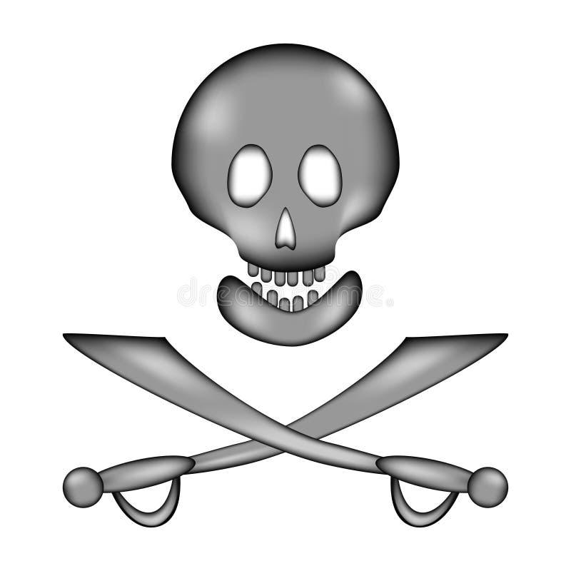 Ícone do sinal do sinal do perigo do crânio e dos ossos ilustração do vetor