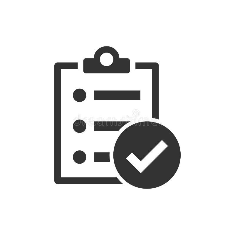 Ícone do sinal do documento da lista de verificação no estilo liso Ilustração do vetor da avaliação no fundo isolado branc ilustração royalty free