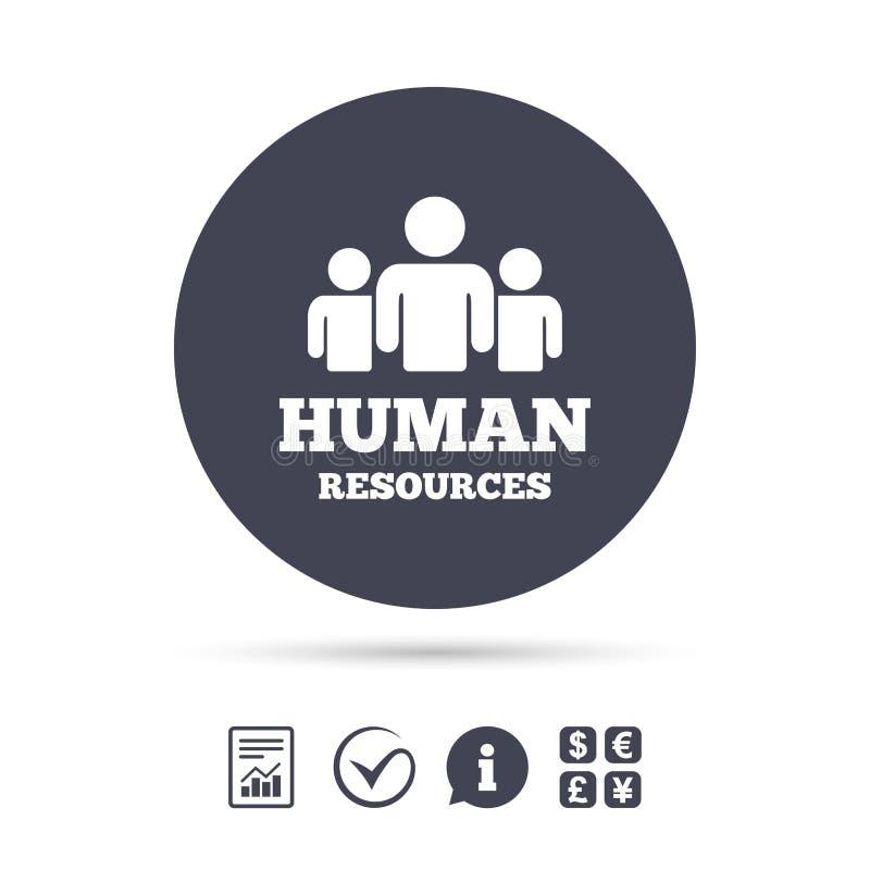 Ícone do sinal dos recursos humanos Símbolo da hora ilustração royalty free