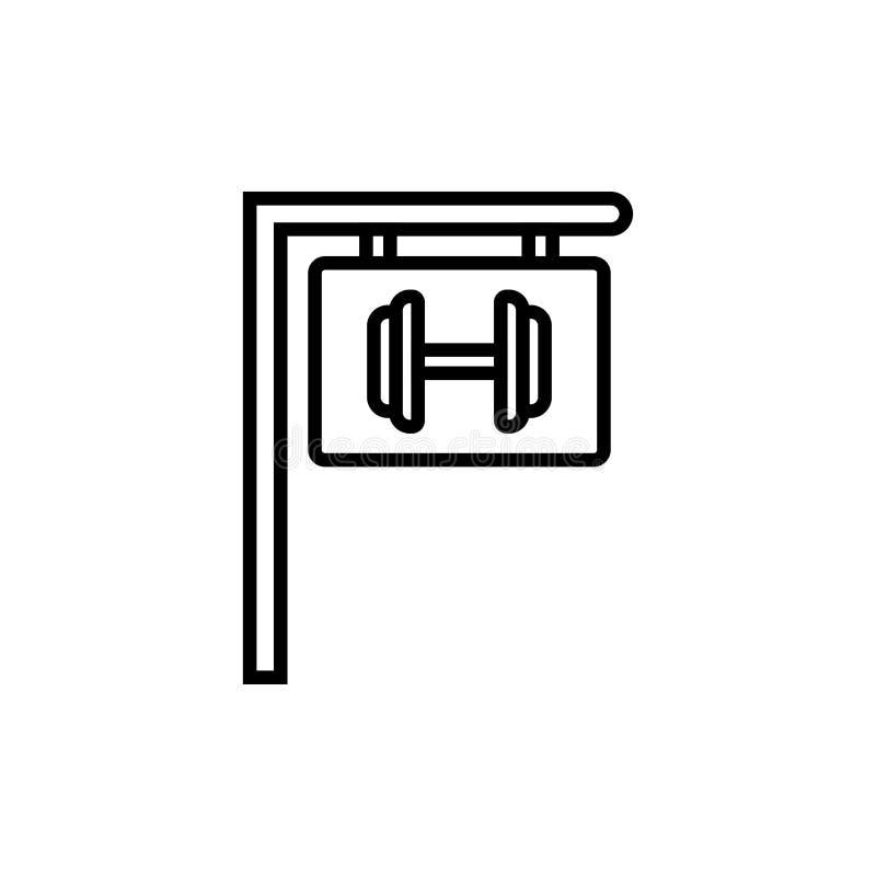 Ícone do sinal do fitness center do Gym placa de suspensão com símbolo do peso para a ilustração do lugar do halterofilista monol ilustração stock