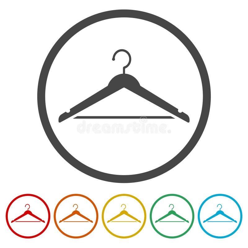 Ícone do sinal do gancho, símbolo do vestiário, 6 cores incluídas ilustração stock