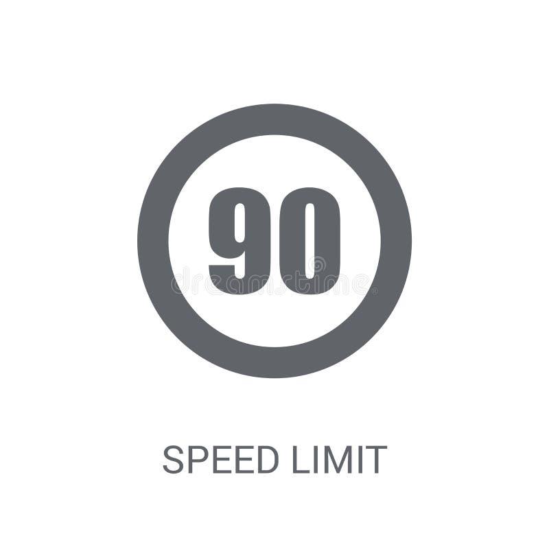 Ícone do sinal do limite de velocidade  ilustração stock