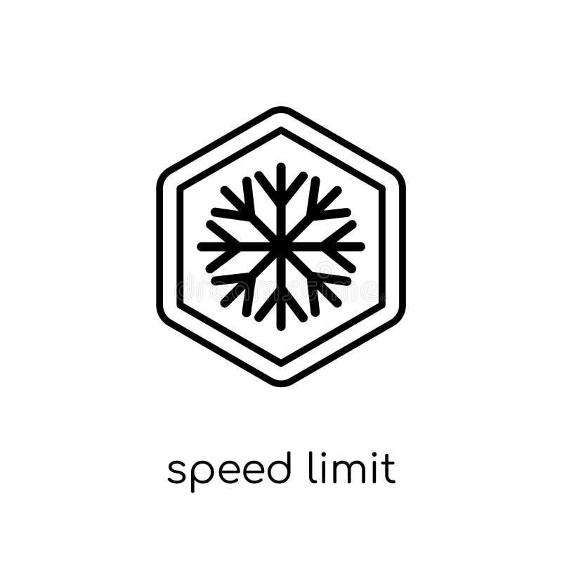 Ícone do sinal do limite de velocidade Li linear liso moderno na moda da velocidade do vetor ilustração stock