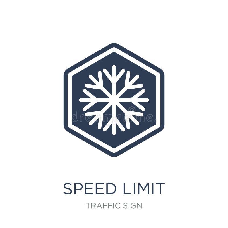 Ícone do sinal do limite de velocidade Ícone liso na moda do sinal do limite de velocidade do vetor ilustração stock