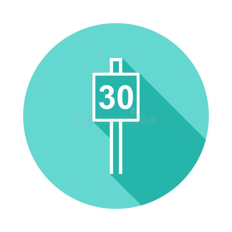 ícone do sinal 30 do limite de velocidade no estilo longo liso da sombra ilustração royalty free