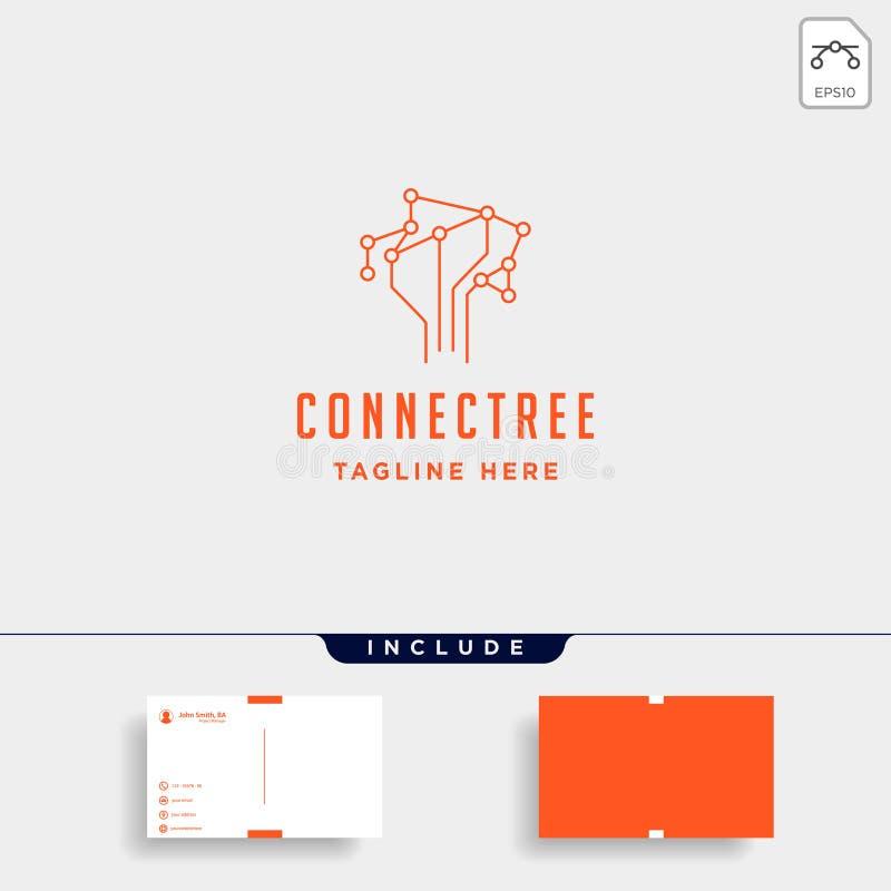 ícone do sinal do símbolo da tecnologia da natureza do vetor do projeto do logotipo da conexão da árvore ilustração stock