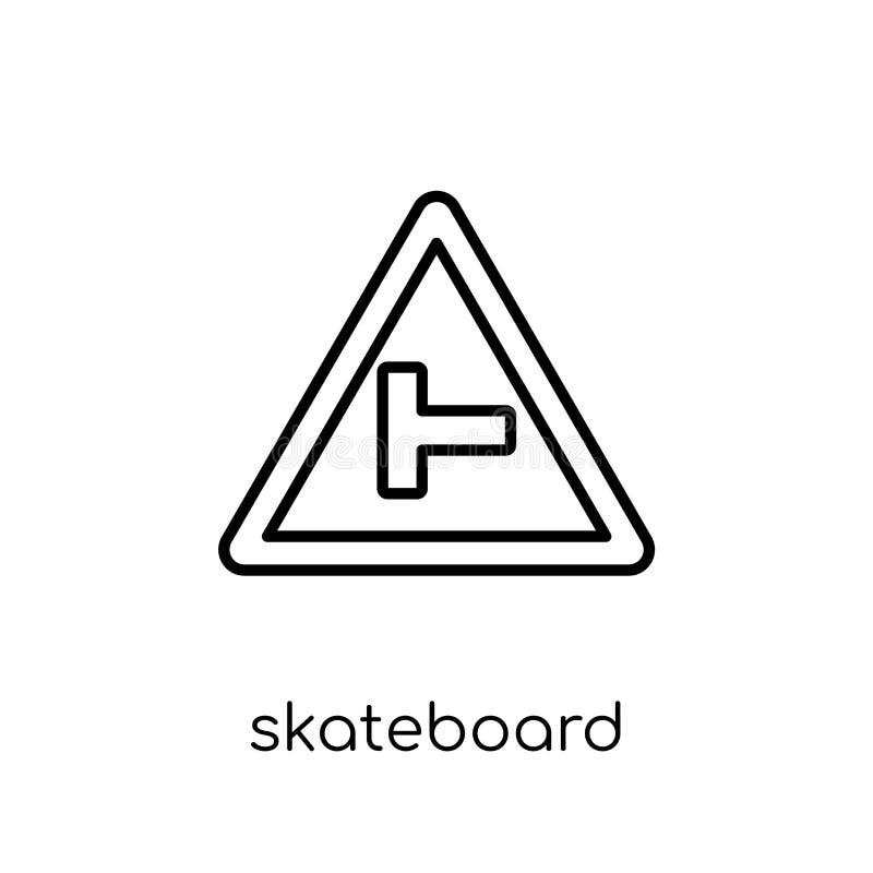 Ícone do sinal do skate Vetor linear liso moderno na moda Skateboar ilustração royalty free