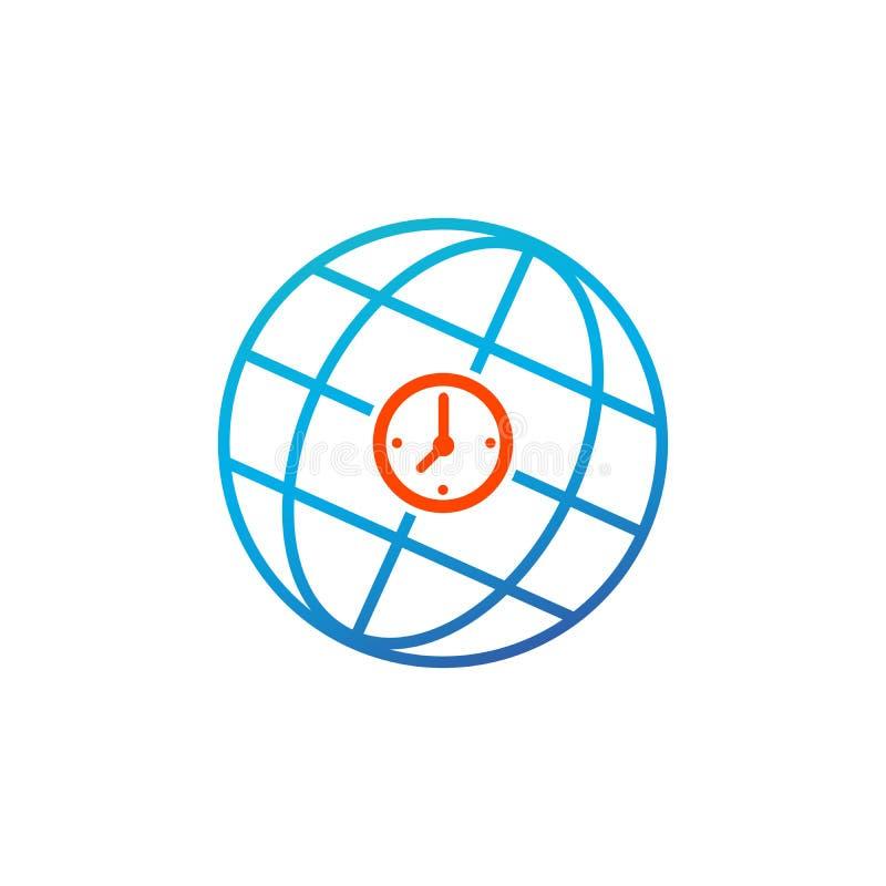 Ícone do sinal do tempo do mundo Símbolo do globo do tempo universal Tecla brilhante azul Botão moderno do Web site de UI Ilustra ilustração royalty free