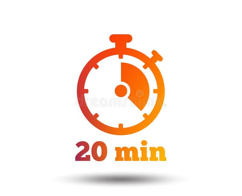 Ícone do sinal do temporizador símbolo do cronômetro de 20 minutos ilustração stock