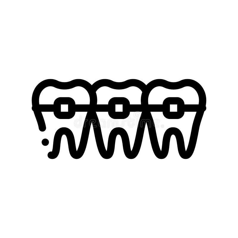 Ícone do sinal do vetor de Stomatology Teeth Braces do dentista ilustração stock
