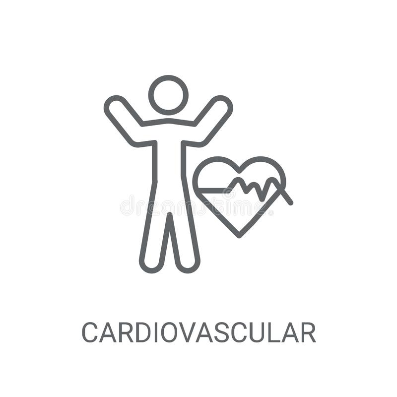 Ícone do sistema cardiovascular Logotipo na moda co do sistema cardiovascular ilustração stock