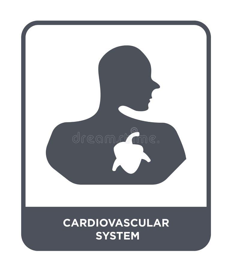 ícone do sistema cardiovascular no estilo na moda do projeto ícone do sistema cardiovascular isolado no fundo branco Sistema card ilustração stock
