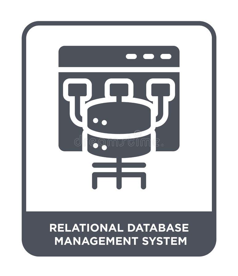 ícone do sistema de sistema de gerenciamento de banco de dados relacional no estilo na moda do projeto ícone do sistema de sistem ilustração do vetor