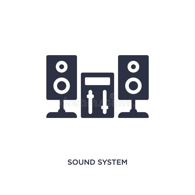 ícone do sistema de som no fundo branco Ilustração simples do elemento do conceito da música ilustração do vetor