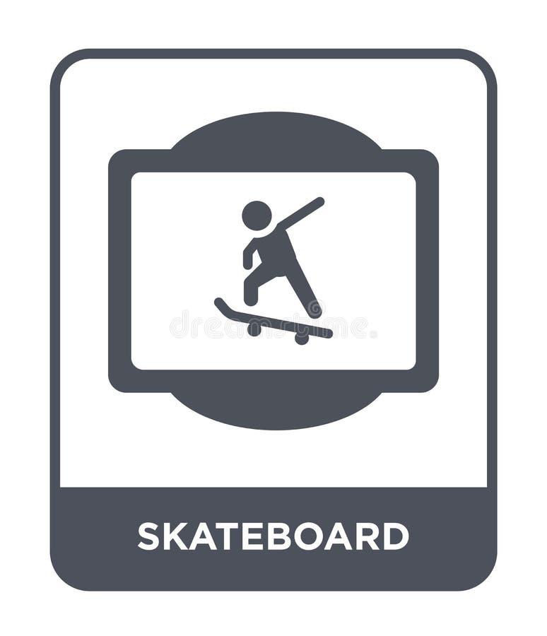 ícone do skate no estilo na moda do projeto Ícone do skate isolado no fundo branco ícone do vetor do skate simples e moderno ilustração do vetor