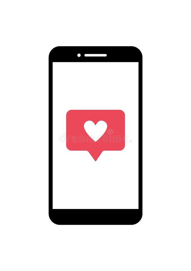 Ícone do smartphone do vetor com vermelho como o símbolo na tela ilustração royalty free