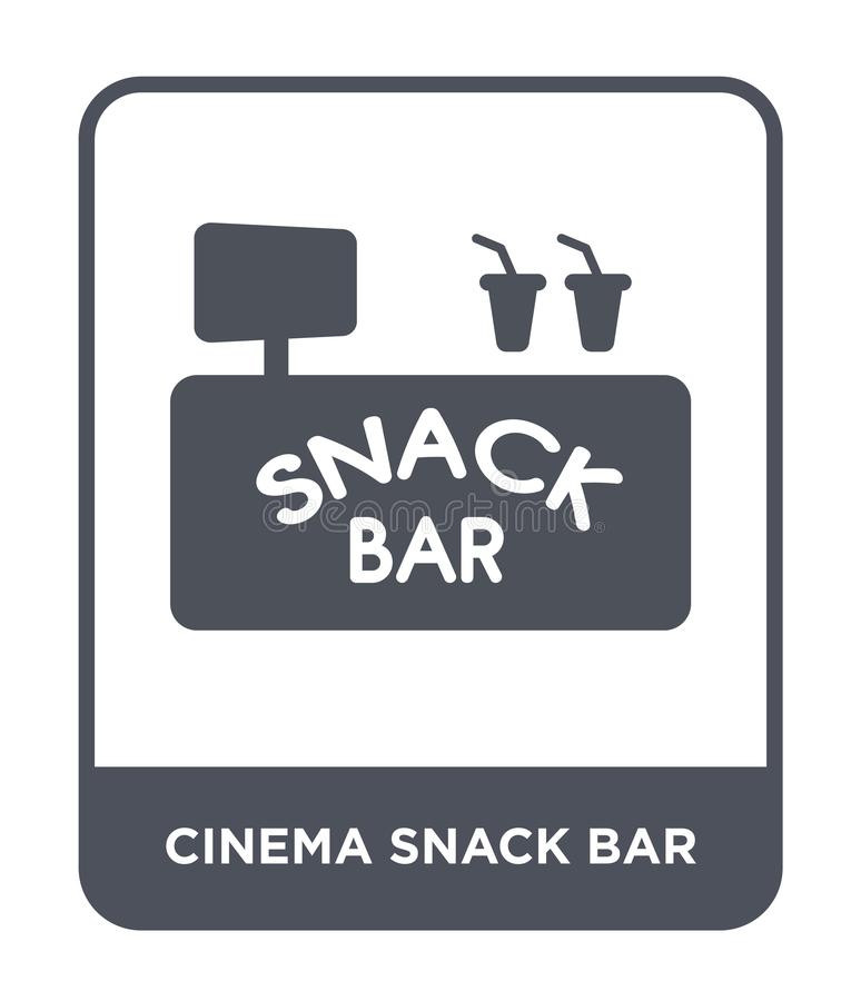ícone do snack bar do cinema no estilo na moda do projeto ícone do snack bar do cinema isolado no fundo branco ícone do vetor do  ilustração stock