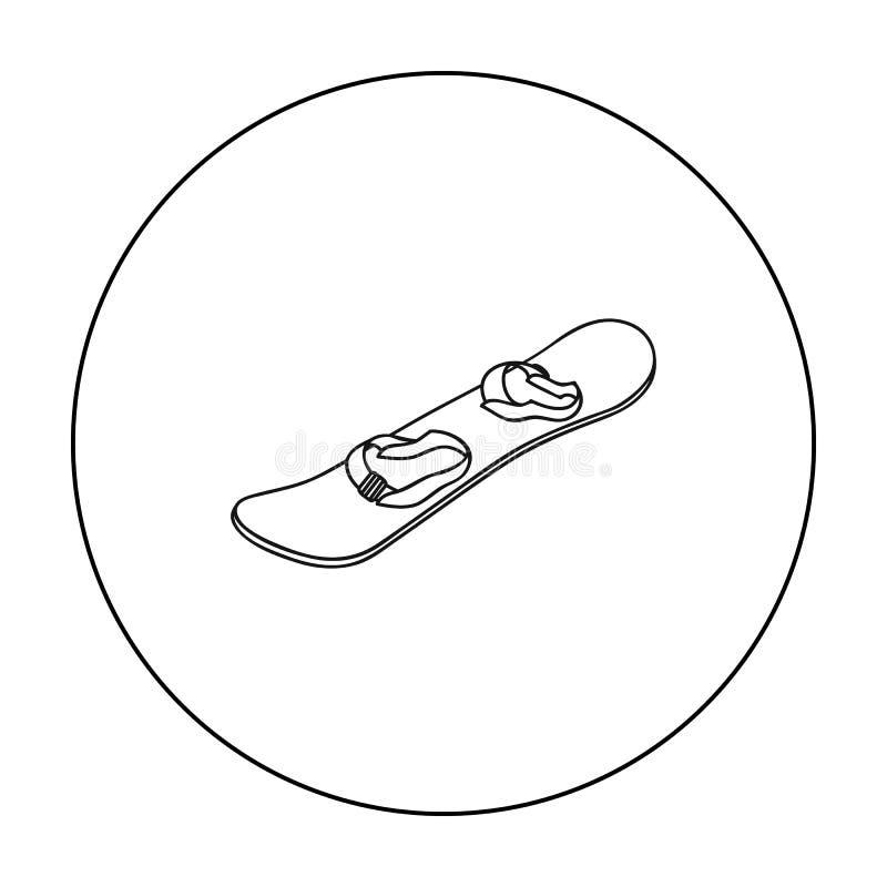 Ícone do Snowboard no estilo do esboço isolado no fundo branco Ilustração do vetor do estoque do símbolo da estância de esqui ilustração do vetor