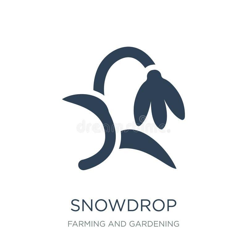 ícone do snowdrop no estilo na moda do projeto ícone do snowdrop isolado no fundo branco plano simples e moderno do ícone do veto ilustração royalty free