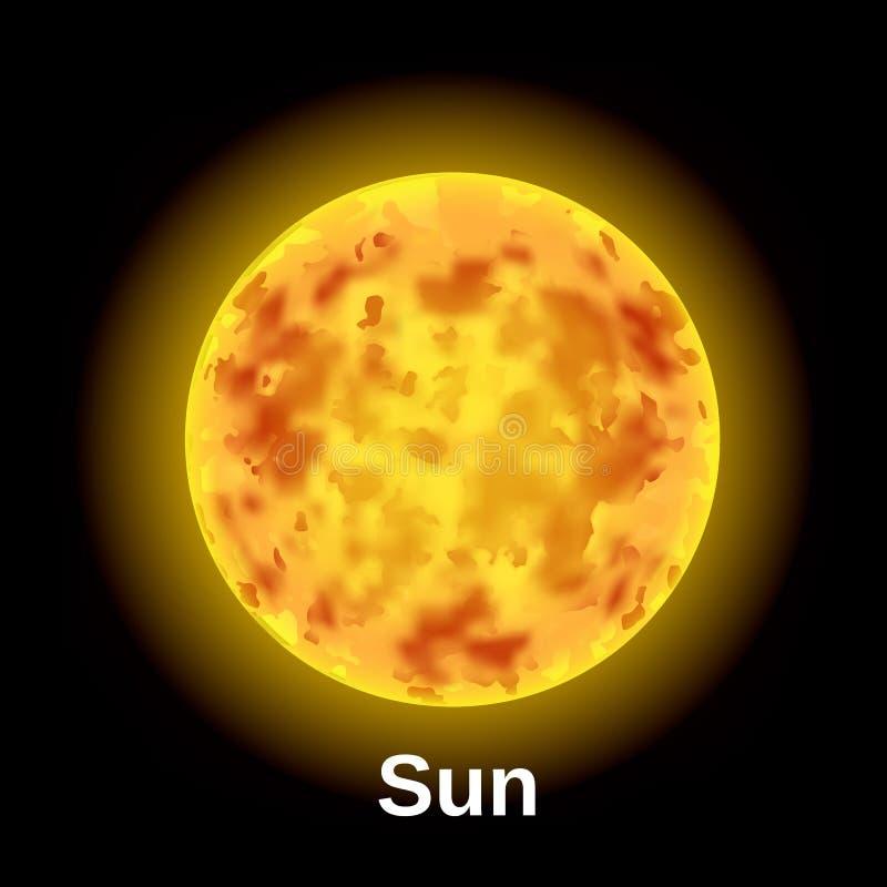 Ícone do sol do espaço, estilo realístico ilustração royalty free