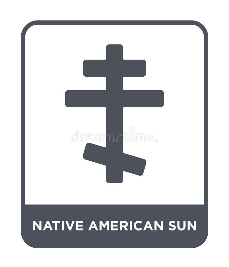 ícone do sol do nativo americano no estilo na moda do projeto ícone do sol do nativo americano isolado no fundo branco vetor do s ilustração royalty free