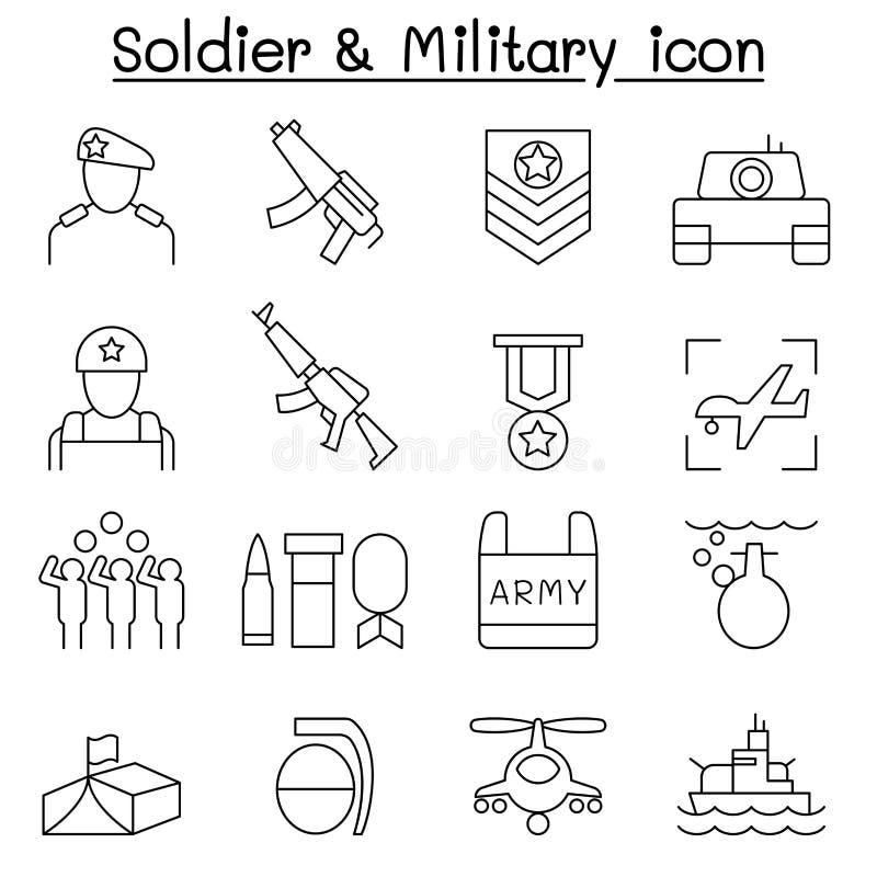 Ícone do soldado ajustado na linha estilo fina ilustração royalty free