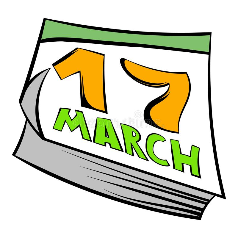 Ícone do St Patrick Day do calendário, desenhos animados do ícone ilustração do vetor