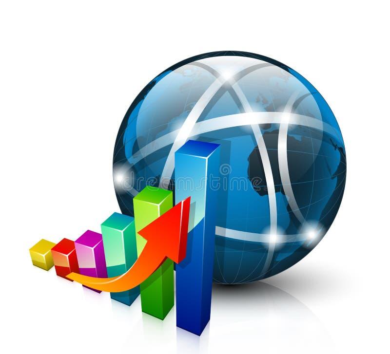 Ícone do Stats gráfico 3D que crescem acima e globo abstrato ilustração do vetor