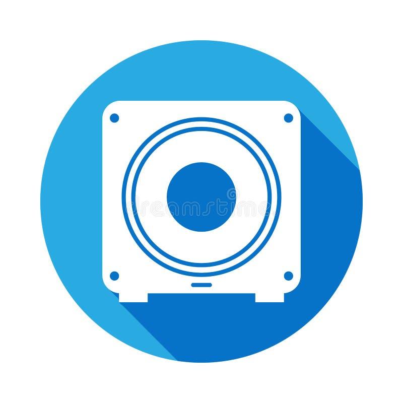 ícone do subwoofer com sombra longa Elemento da ilustração da música Sinal superior do projeto gráfico da qualidade Os sinais e o ilustração royalty free