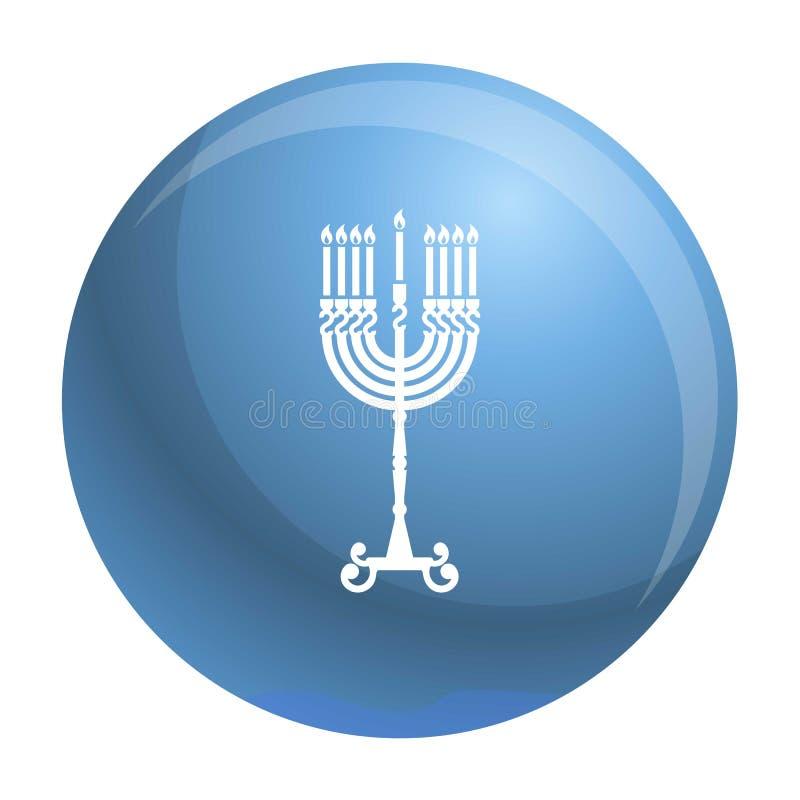 Ícone do suporte da vela do Hanukkah, estilo simples ilustração stock