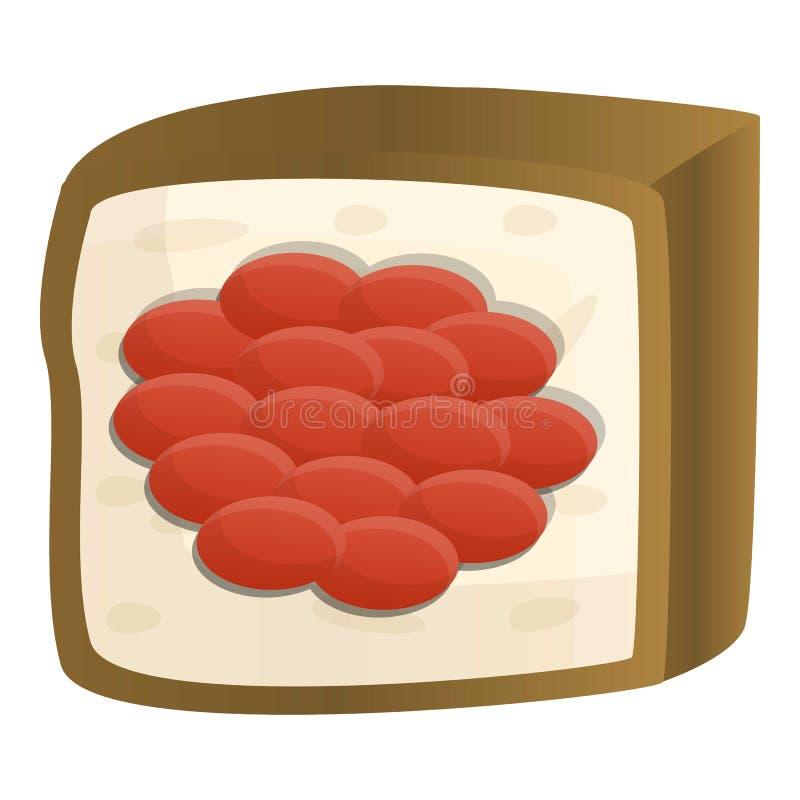 Ícone do sushi do caviar, estilo dos desenhos animados ilustração do vetor