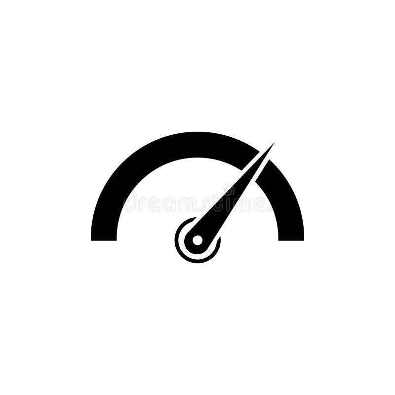 Ícone do tacômetro, do velocímetro, do indicador e do desempenho Logotipo do sinal da velocidade rápida ilustração stock