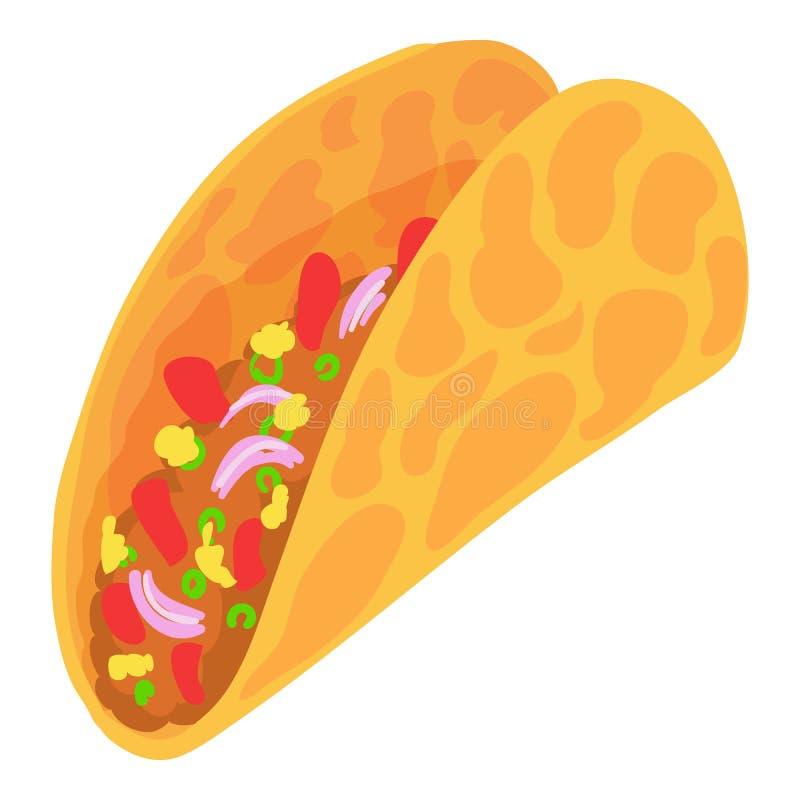 Ícone do taco, estilo dos desenhos animados ilustração stock