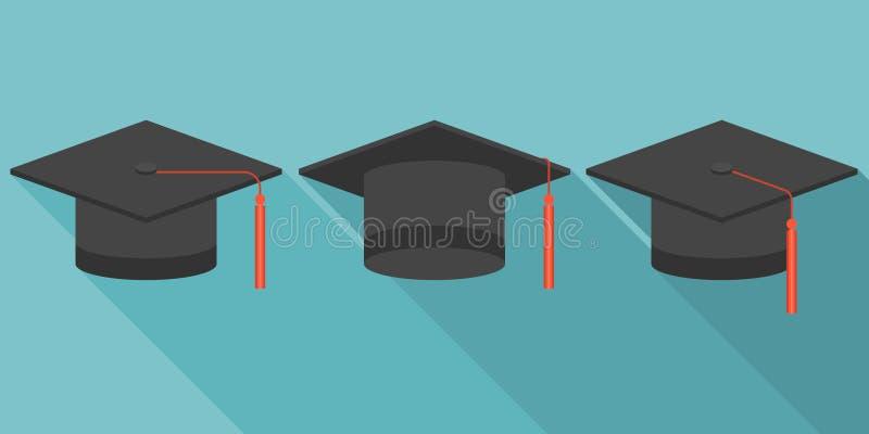 Ícone do tampão da graduação ilustração stock