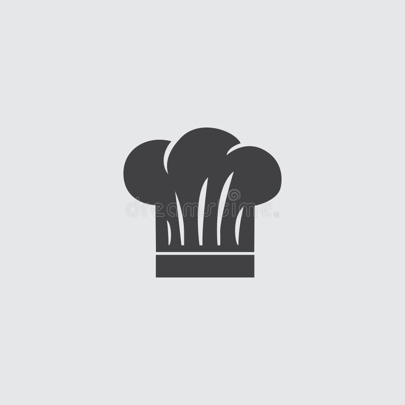 Ícone do tampão do cozinheiro chefe em um projeto liso na cor preta Ilustração EPS10 do vetor ilustração do vetor