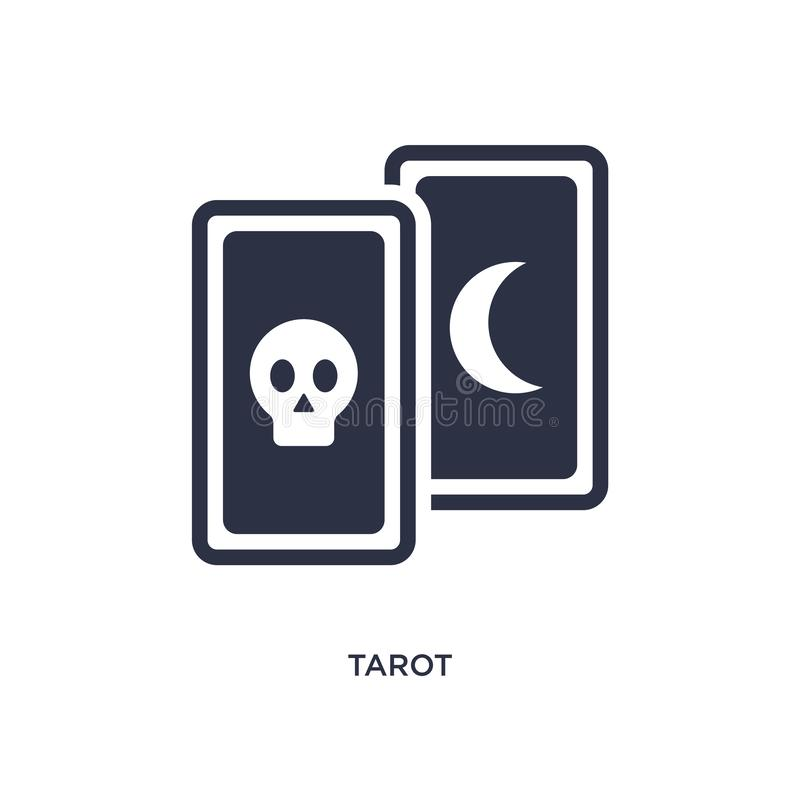 ícone do tarô no fundo branco Ilustração simples do elemento do conceito mágico ilustração royalty free