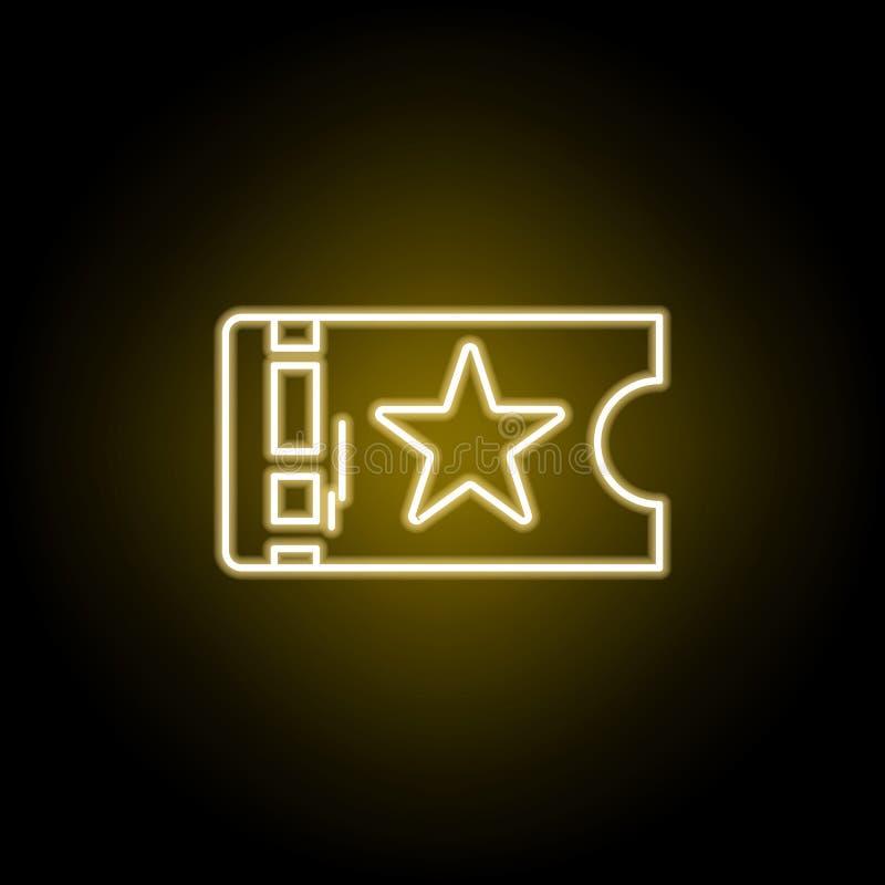 Ícone do teatro do bilhete no estilo de néon amarelo Elemento do vetor da ilustração do teatro Sinais e ?cone para Web site, desi ilustração do vetor
