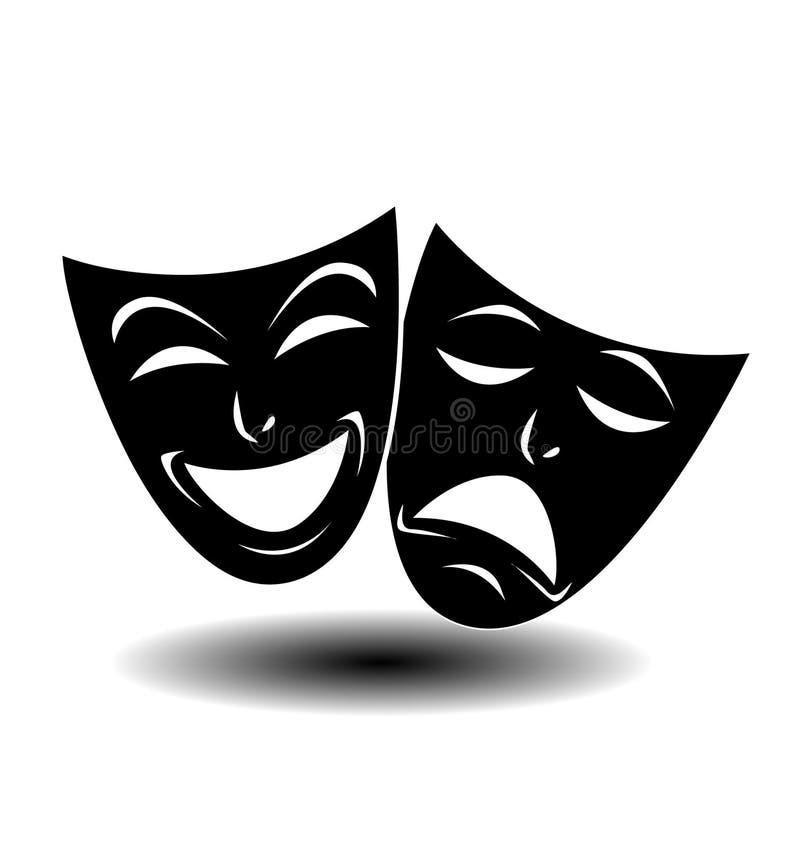 Ícone do teatro com máscaras felizes e tristes ilustração stock