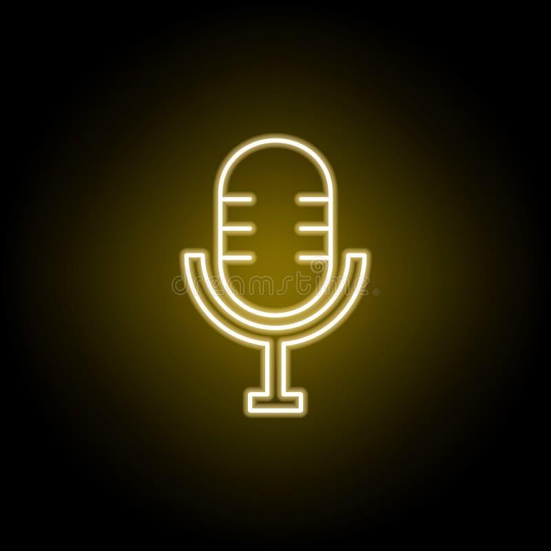 Ícone do teatro do Mic no estilo de néon amarelo Elemento do vetor da ilustração do teatro Sinais e ?cone para Web site, design w ilustração do vetor