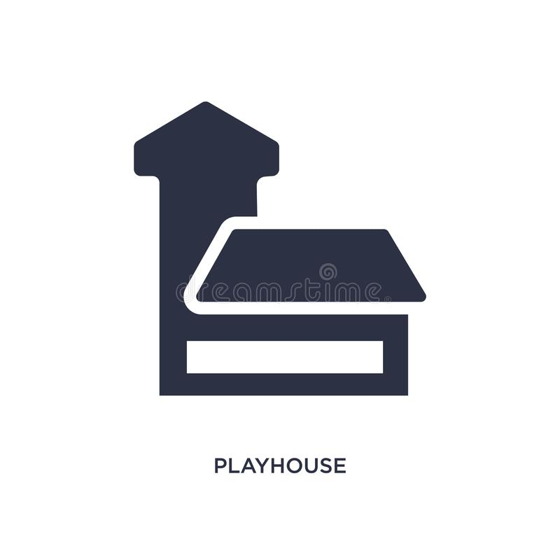 ícone do teatro no fundo branco Ilustração simples do elemento das crianças e do conceito do bebê ilustração do vetor