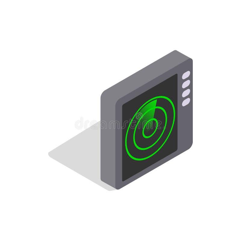 Ícone do tela de radar, estilo 3d isométrico ilustração stock
