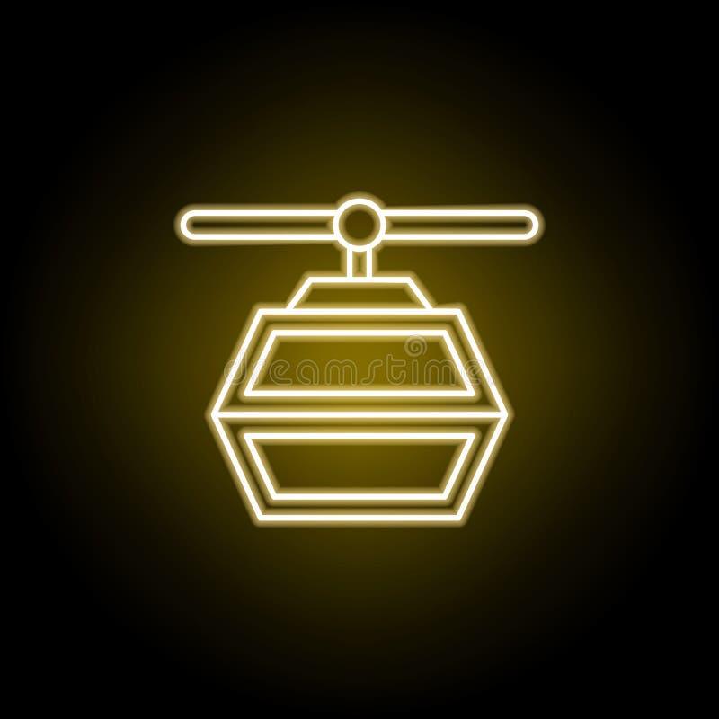 ?cone do telef?rico no estilo de n?on Os sinais e os s?mbolos podem ser usados para a Web, logotipo, app m?vel, UI, UX ilustração stock