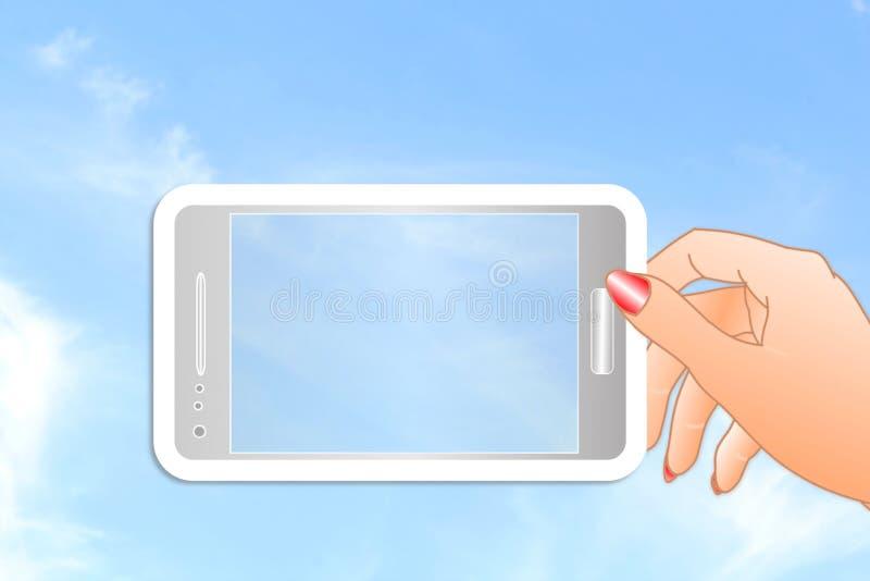 Ícone do telefone celular à disposição no fundo do céu foto de stock royalty free